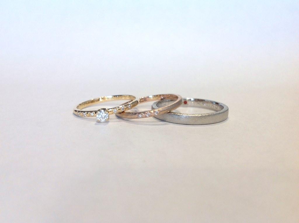 平打(2.5mm)・甲丸(1.5mm)・甲丸(婚約指輪1.5mm)